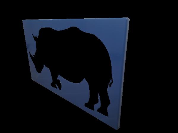 Plaque mural en métal rhinocéroce en bleu