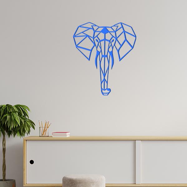 plaque murale en métal éléphant origami dans le salon en bleu