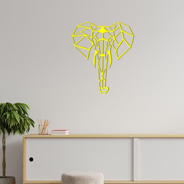 plaque murale en métal éléphant origami dans le salon en jaune