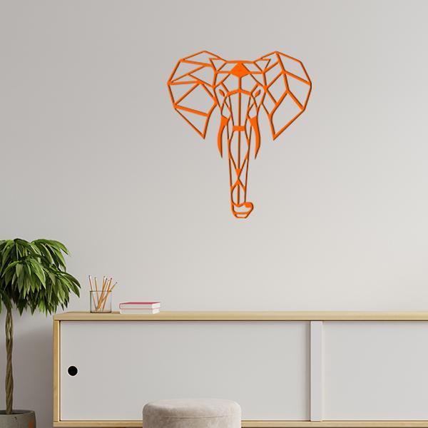 plaque murale en métal éléphant origami dans le salon en orange