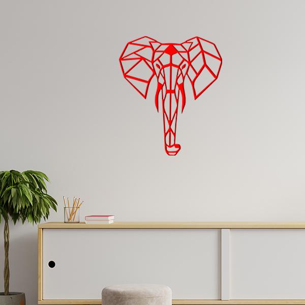 plaque murale en métal éléphant origami dans le salon en rouge