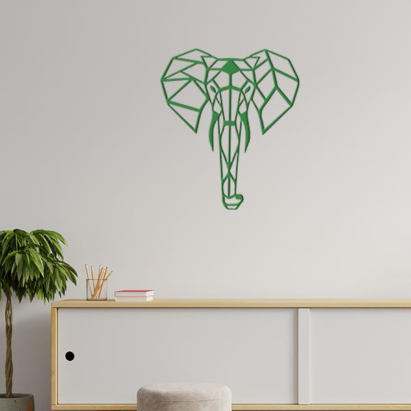 plaque murale en métal éléphant origami dans le salon en vert