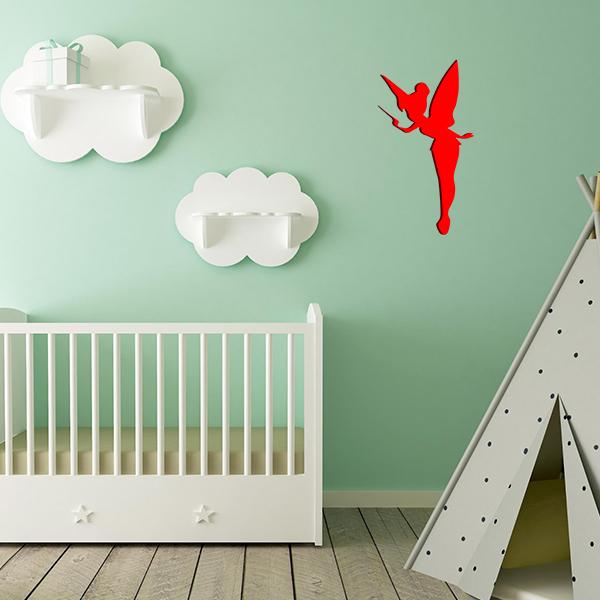 Plaque murale métal fée dans chambre d'enfant en rouge