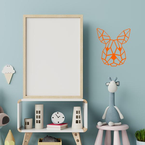 Plaque murale en métal tête de lapin dans chambre d'enfant en orange