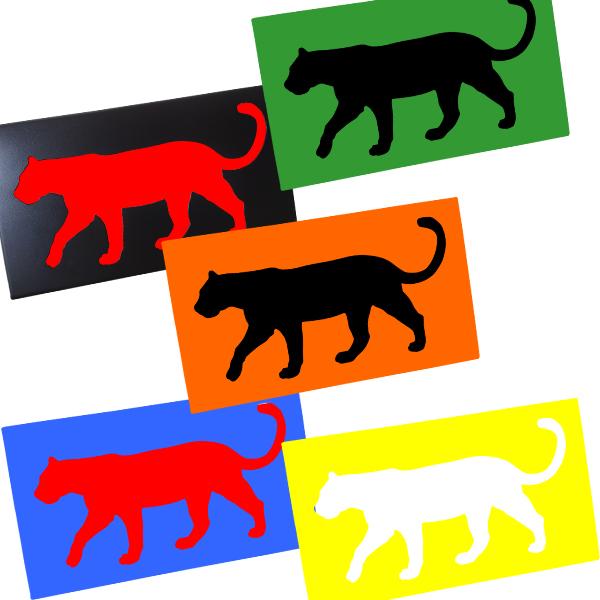 Cadre mural en métal tigre multi-couleurs