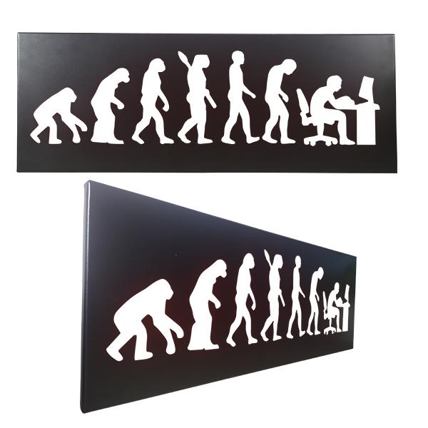 cadre mural en métal évolution humaine ordinateur en noir
