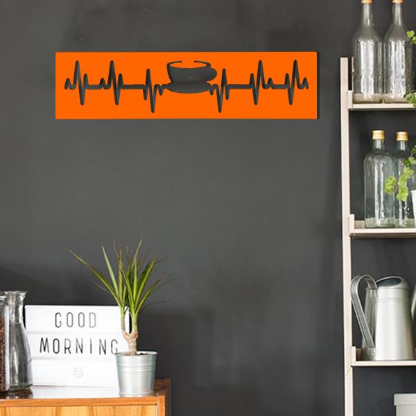 cadre murale en métal tasse de thé dans cuisine en orange