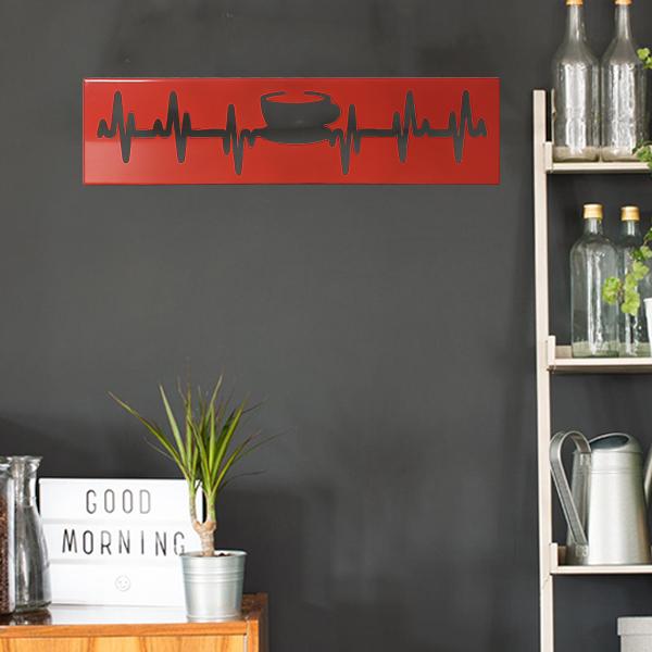 cadre murale en métal tasse de thé de profil et de face en rouge