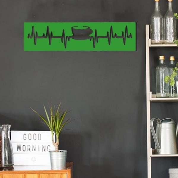 cadre murale en métal tasse de thé dans cuisine en vert