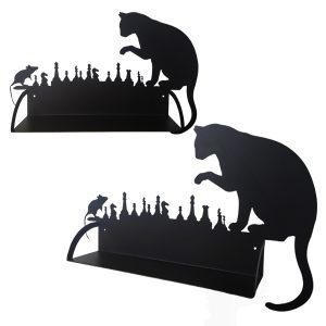 Étagère murale en métal chat souris échec en noir