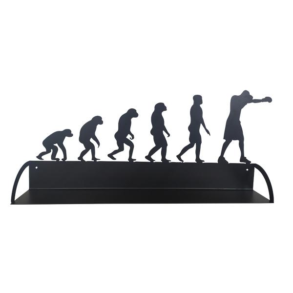 étagère en métal évolution humaine du boxeur en noir