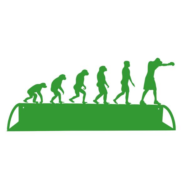 étagère en métal évolution humaine du boxeur en vert