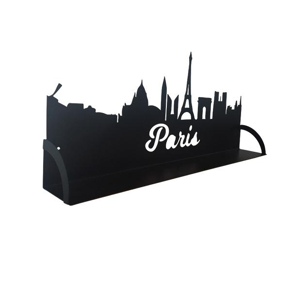 étagère en métal de paris vue de profil en noir