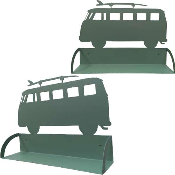 Étagère murale en métal van avec surf vert