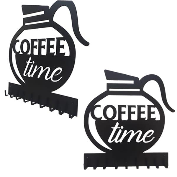 patère murale en métal coffee time en noir