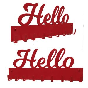 patère murale en métal rouge design hello
