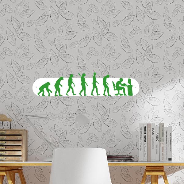 plaque murale en métal évolution humaine ordi blanc et vert dans bureau