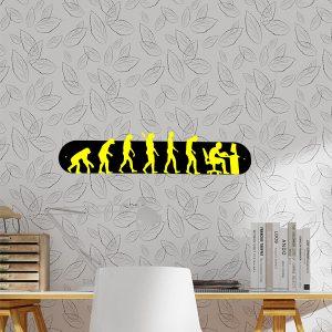 plaque murale en métal évolution humaine ordi noir et jaune dans bureau