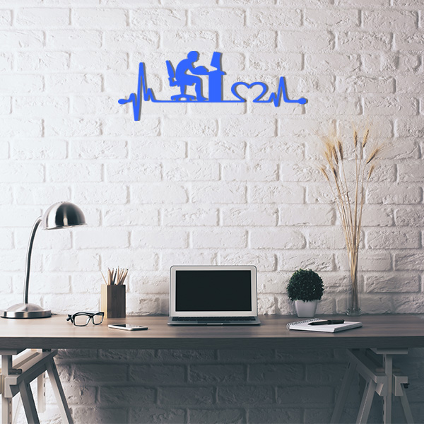 Plaque murale metal ligne de vie ordinateur bleu bureau