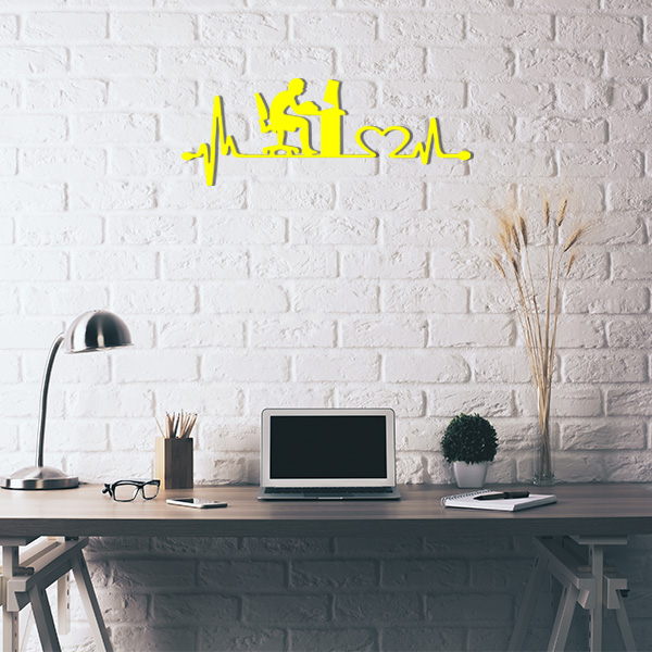 Plaque murale metal ligne de vie ordinateur jaune bureau