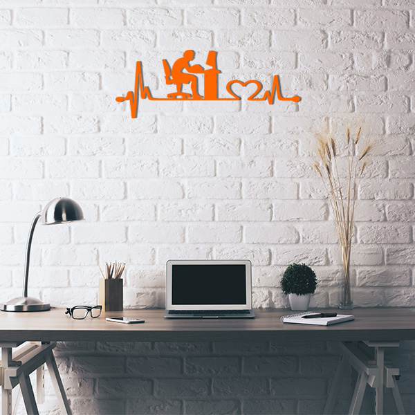 Plaque murale metal ligne de vie ordinateur orange bureau