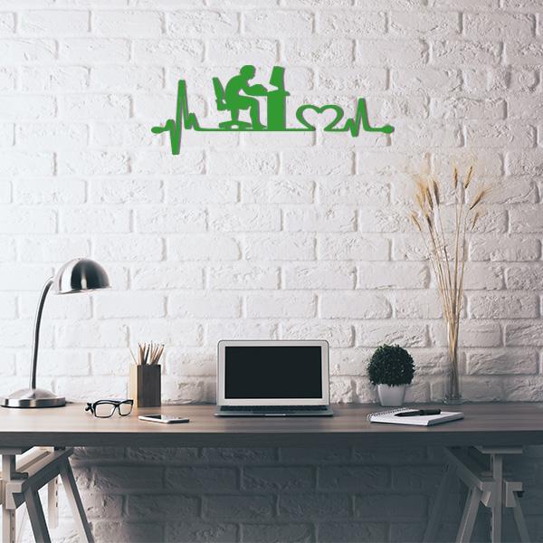 Plaque murale metal ligne de vie ordinateur vert bureau