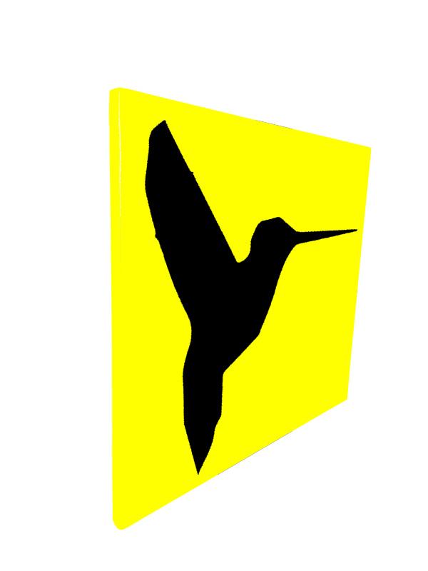 cadre en métal colibri en jaune avec fond noir