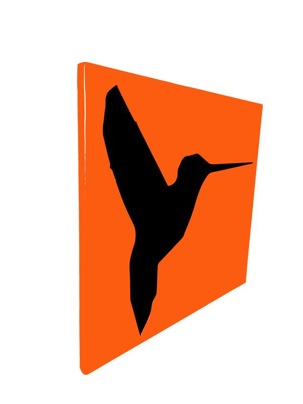 cadre en métal colibri en orange avec fond noir