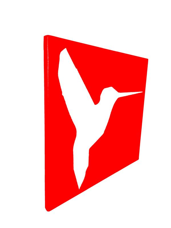 cadre en métal colibri en rouge avec fond blanc