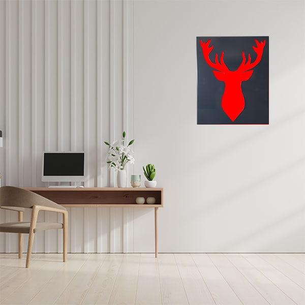 cadre mural en métal fond rouge et face noir dans bureau