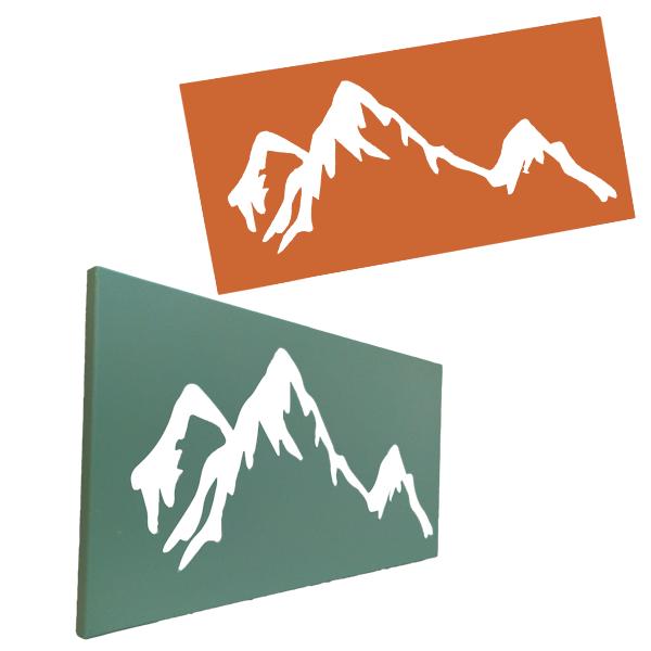 cadre mural en métal montagne de profil et de face