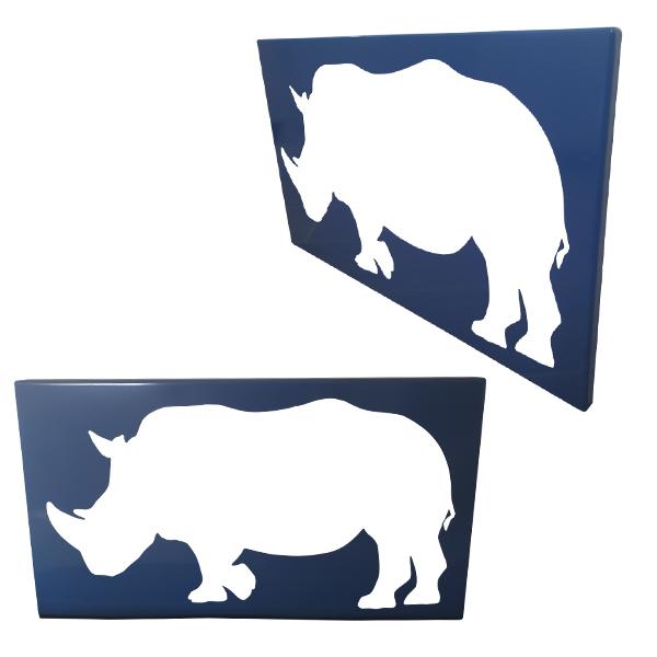 cadre mural en métal rhinocéros en bleu ajouré