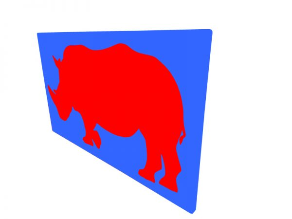 cadre mural en métal rhinocéros en bleu avec fond rouge