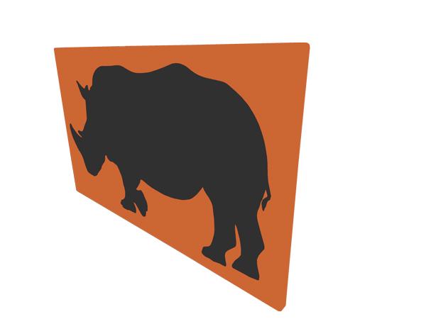 cadre mural en métal rhinocéros en orange avec fond noir