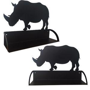 Étagère murale en métal en forme de rhinocéros en noir