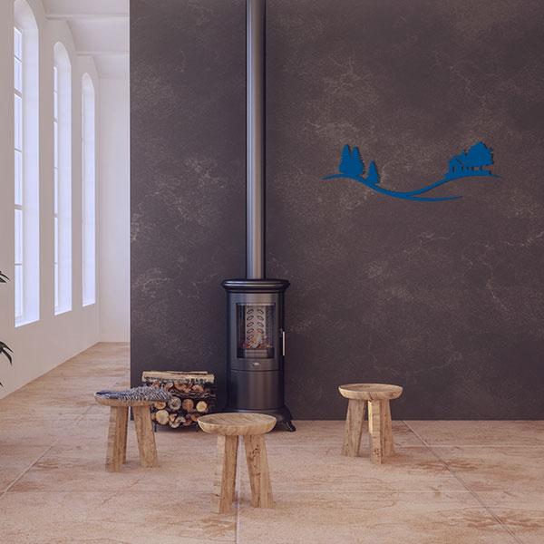 plaque murale metal arbre maison bleu salon