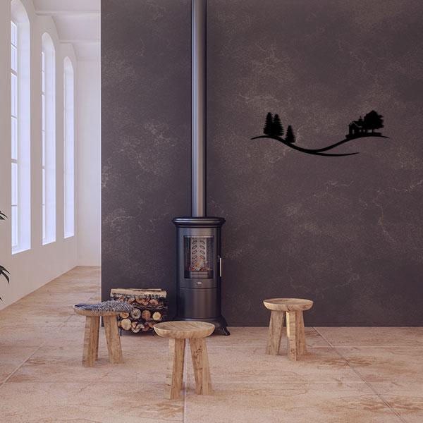 plaque murale metal arbre maison noir salon