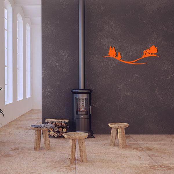 plaque murale metal arbre maison orange salon