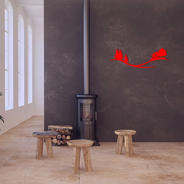 plaque murale metal arbre maison rouge salon