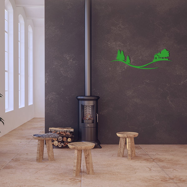 plaque murale metal arbre maison vert salon