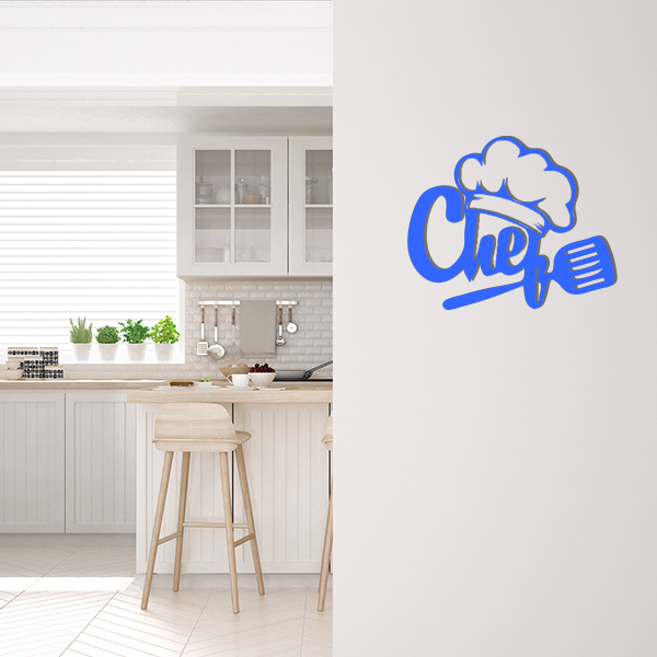 Plaque murale metal chef bleu cuisine