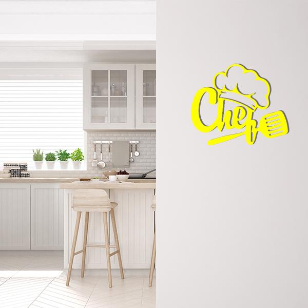 Plaque murale metal chef jaune cuisine
