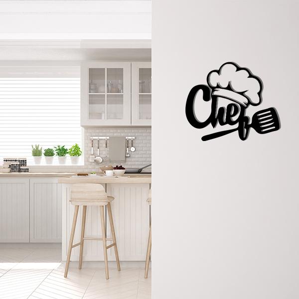 Plaque murale metal chef noir cuisine