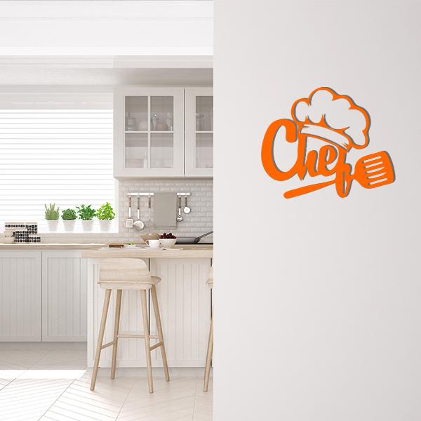 Plaque murale metal chef orange cuisine