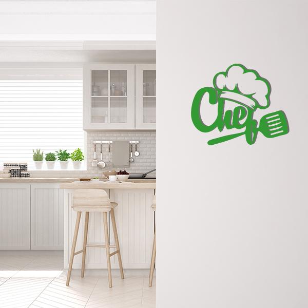 Plaque murale metal chef vert cuisine