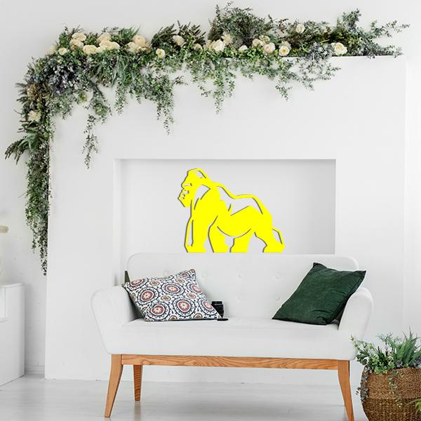 Plaque murale metal gorille jaune salon
