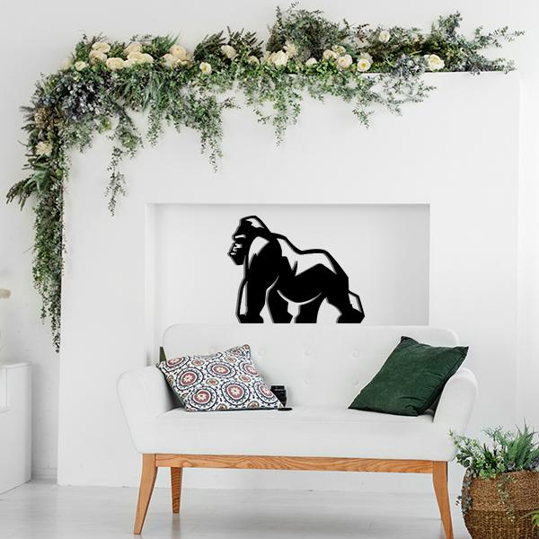 Plaque murale metal gorille noir salon