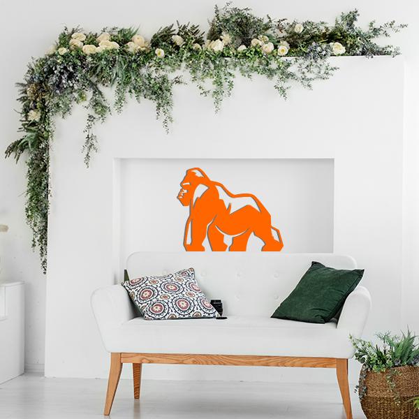 Plaque murale metal gorille orange salon