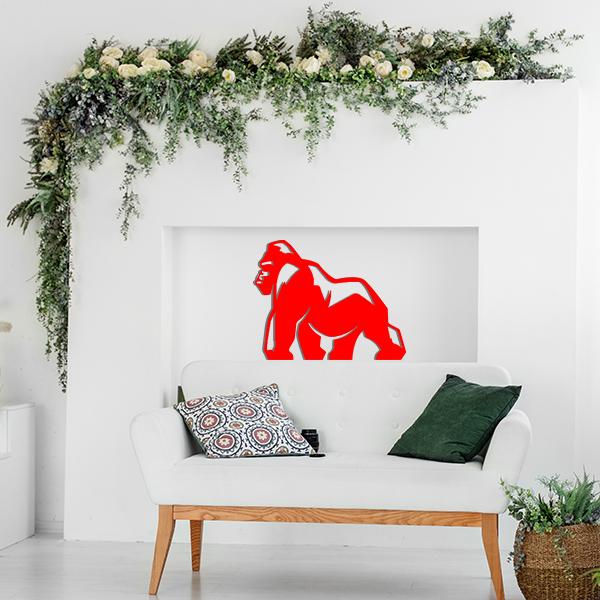 Plaque murale metal gorille rouge salon