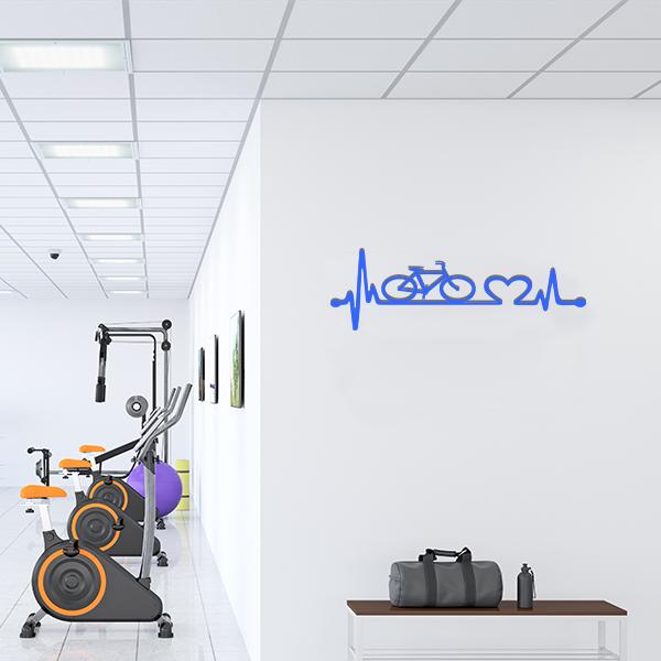 Plaque murale metal ligne vie velo bleu salle sport